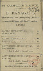 Advert for B Ranagans, hairdressers